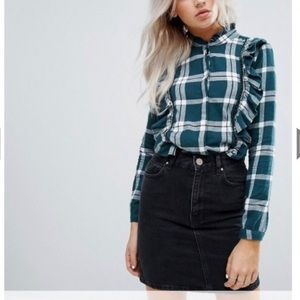 Noisy May green plaid blouse - Size Small